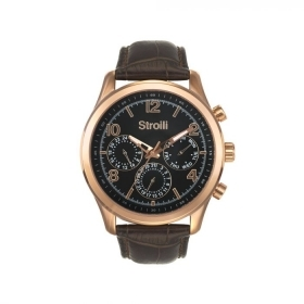 Stroili mens watch chrono multi-function brown leather 42mm 1619312
