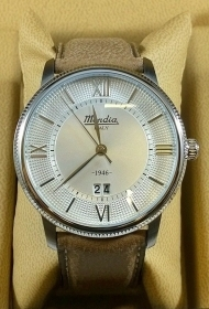 Mondia mens watch 1946 brown leather 42mm Ref.MI758-1CP
