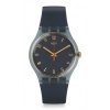 SWATCH man Watch woman NUIT BLEUE SUOM105 grey hands gold 41mm