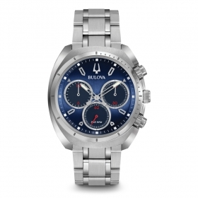 Bulova mens Watch chronograph 262Khz CURV 96A185 blue chrono 43mm