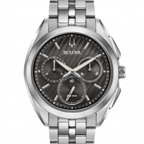 Bulova mens Watch chronograph 262Khz CURV 96A186 Grey chrono 43mm