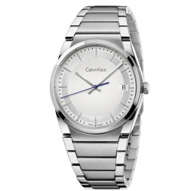 CALVIN KLEIN man Watch woman STEP time-only steel silver 38mm K6K31146