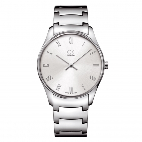 CALVIN KLEIN Watch men's CLASSIC, only time, mineral SILVER 38mm K4D2114Z