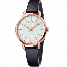 CALVIN KLEIN woman Watch leather EVEN only time pink gold 36mm K7B236G6