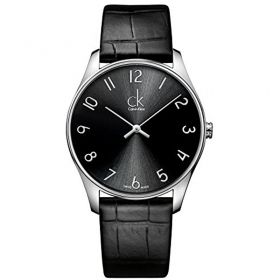 CALVIN KLEIN mens Watch CLASSIC time-only leather black 38mm K4D211CX