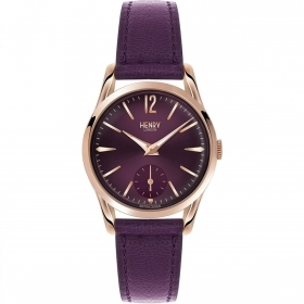 Henry London clock woman Richmond only time purple 30mm HL30