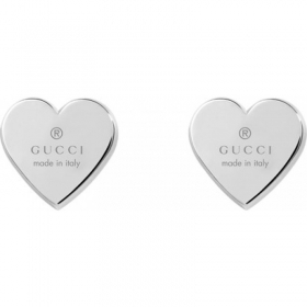 GUCCI earrings, women's button heart silver YBD356250001