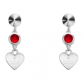 GUCCI earrings woman silver pendants, heart, red crystals, YBD325837001