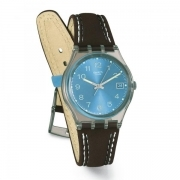 SWATCH Watch woman leather brown Blue Choco 34mm GM415