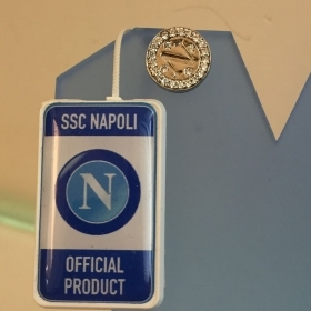 SSC Napoli earring mono button Official Product round silver KB34