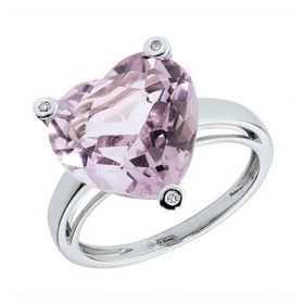 Bliss ring heart woman Magic with 18kt white gold 3 diamonds 0.016 amethyst 20004876