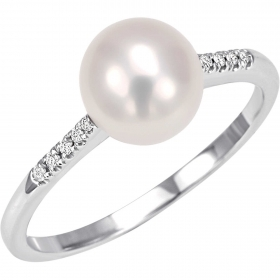 Bliss solitaire ring with pearl women's Diana 18kt gold 10 diamond 20066977