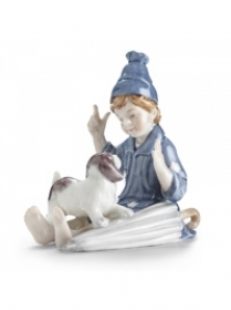 Royal Copenhagen boy with dog sabbiolino 8cm Figurines 1249230