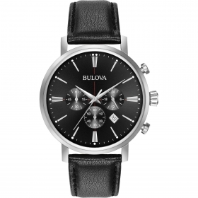 Bulova mens Watch chronograph chrono black Classic 41mm 96B262