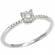 Bliss solitaire ring women's Caresse 18kt white gold 21 diamonds 0.09 ct H 20061667