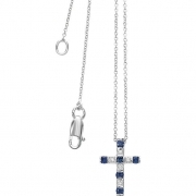 Bliss necklace cross woman Cabaret 18kt white gold 5 diamonds 0.05 ct sapphires 20057556