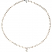 Bliss woman necklace necklace pearls diamonds 0.01 ct 18kt white gold 42cm 20068737