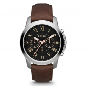 FOSSIL man watch date CHRONO leather mov. Miyota brown GRANT 44mm FS4813
