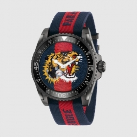 GUCCI man watch DIVE 20ATM strap tiger fabric 45mm YA136215