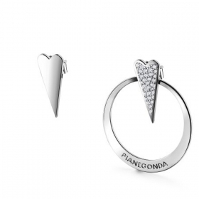 Pianegonda earrings CELESTIA heart sterling silver 925 cubic zirconia white PCA21
