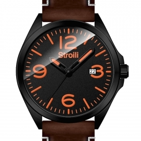 Stroili watch only time steel case cint. leather black dial 1624265