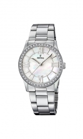Festina watch Ladies classic numbers roman steel mother-of-p