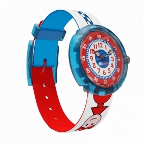 Flik Flak watch child anniversary TICKING RIGHT white blue red FBNP079