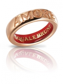 Pasquale Bruni ring love rose gold with enamel, size 14 14989R