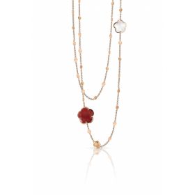 Pasquale Bruni necklace bon ton pink gold quartz milky carnelian 1 diamond 15044R