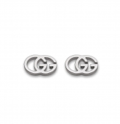GUCCI EARRINGS WOMAN GG tissue WHITE GOLD LOGO BUTTON YBD09407400100U