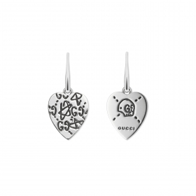 Gucci earrings in silver GucciGhost graffiti engraved heart YBD457231001