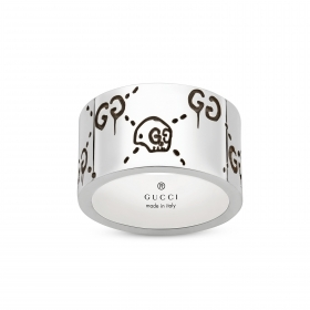 Gucci silver ring Gucci Ghost band 12mm wide mis. 18 YBC455319001