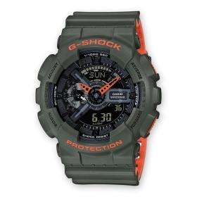 Casio G-Shock mens watch-green/orange digital/analog GA-110LN-3AER