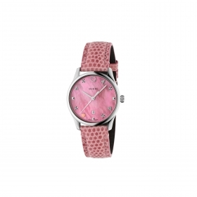 Gucci G-timeless watch stainless steel cint.pink leather mother-of-pearl rosaYA126586
