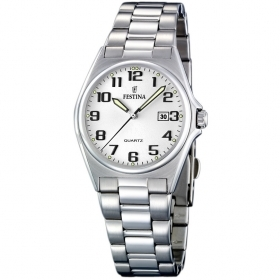 Festina watch women's classic stainless steel numbers quad.white 30mm F16375/9