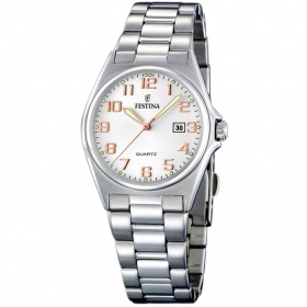 Festina watch women's classic stainless steel the quad.silver indices, numbers rose F16375/7