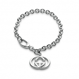Bracelet gucci silver double chain g carabiner 18cm YBA190501001