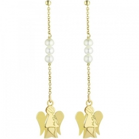 Roberto Giannotti earrings yellow gold 375/000 pearls angel NKT185