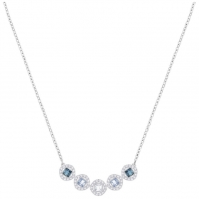 Swarovski necklace angelic square blue rhodium plating 5294622