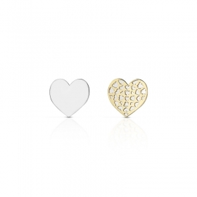Roberto Giannotti earrings gold 375/000 yellow/white heart angels NKT229