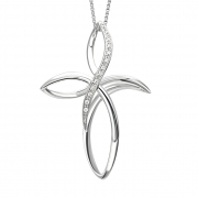 Bliss necklace cross, white gold 750/000, diamond 0,065 ct 20068605