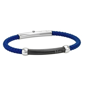 Bliss bracelet men stainless steel and blue polyester adjustable 20069421