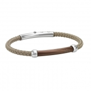 Bliss bracelet men stainless steel and polyester taupe adjustable 20069425