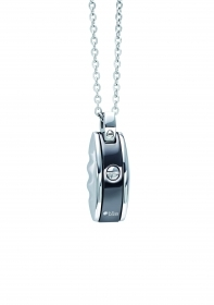 Bliss necklace man Rebel black pvd steel diamond 0,005 ct 20059876