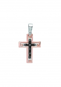 Bliss cross pendant Man white gold 18kt diamonds 0.07 ct 20070882