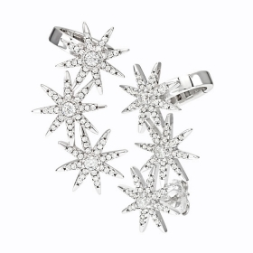 Bliss earrings in rhodium silver and cubic zirconia three star 20073192