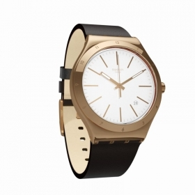 Swatch watch irony tic-brown date pvd gold YWG405