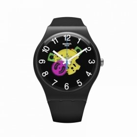 Swatch watch new gent black dial transparent PATCHWORK SUOB140