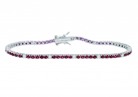 Bliss tennis bracelet wire silver cubic zirconia white pink 20070316