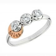 Bliss trilogy ring women's Light gold 18kt 3 diamond 0.21 ct 20004922